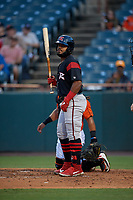 Richmond Flying Squirrels Heliot Ramos (18) at bat during an Eastern League game against the Bowie Baysox on August 15, 2019 at Prince George's Stadium in Bowie, Maryland.  Bowie defeated Richmond 4-3.  (Mike Janes/Four Seam Images)