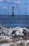 The Morris Island Lighthouse seen from Folly Beach, South Carolina on Monday, March 9, 2015. <br /> Photo by Cathleen Allison