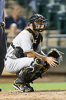 Salt Lake Bees catcher Hank Conger #9 behind the plate during a Pacific Coast League game against the Round Rock Express at The Dell Diamond in Round Rock, Texas on August 6, 2011. Round Rock defeated Salt Lake 3-1.  (Andrew Woolley/Four Seam Images)