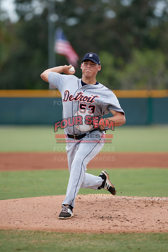 Detroit Tigers pitcher Tom de Blok (53) delivers a pitch during an Instructional League game against the Pittsburgh Pirates October 6, 2017 at Pirate City in Bradenton, Florida.  (Mike Janes/Four Seam Images)