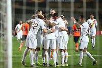 Jordan Veretout of AS Roma celebrates with team mates after scoring on penalty the goal of 0-1 for his side<br /> Istanbul 28-11-2019 <br /> Football Europa League 2019/2020 <br /> Istanbul Basaksehir - AS Roma    <br /> Photo Gino Mancini / Insidefoto