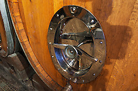 tank door on a wooden vat domaine g bonnefond ampuis rhone france