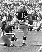 George Blanda field goal , holding is Daryle Lamonica..<br />(1969 photo/Ron Riesterer)