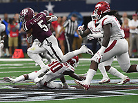 NWA Democrat-Gazette/J.T. WAMPLER Texas A&M's Trayveon Williams leaps for extra yards Saturday Sept. 29, 2018 at AT&T Stadium in Arlington. The Aggies beat the Razorbacks 24-17.