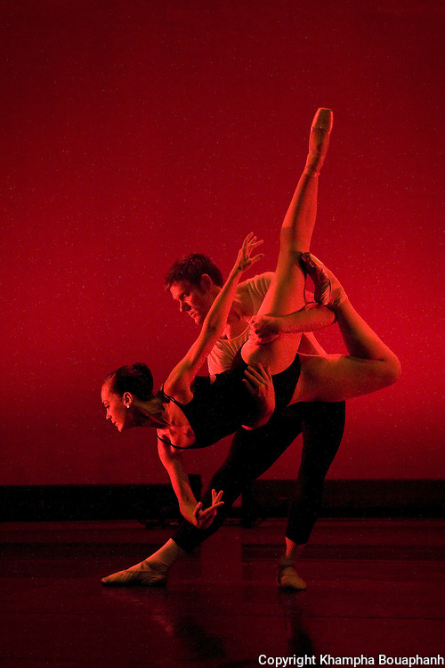 Texas Dance Theatre's Emily Hunter and Dan Westfield perform in a piece called Webern Variations at Scott Theater in Fort Worth on April 30, 2010.  (photo by Khampha Bouaphanh)