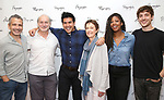 Director David Cromer, Peter Friedman, Pun Bandhu, Deanna Dunagan, Marinda Anderson and playwright Max Posner during the first day of rehearsals for the Playwrights Horizons production of 'The Treasurer' on August 1, 2017 at the Playwrights rehearsal studio in New York City.
