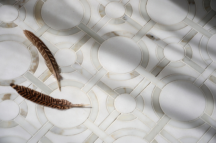 Cirque, a stone water jet cut mosaic, shown in honed Thassos and polished Calacatta Tia.
