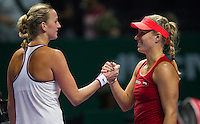 ANGELIQUE KERBER (GER), PETRA KVITOVA (CZE)<br /> <br /> WTA FINALS, SINGAPORE INDOOR STADIUM, SINGAPORE SPORTS HUB, SINGAPORE, 2015