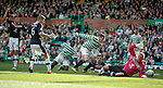 Gary Hooper gets the ball in the net past Dundee keeper Rab Douglas but this effort was ruled out