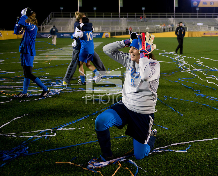 Katelyn Rowland (0) of UCLA celebrates after the NCAA Women's College Cup finals at WakeMed Soccer Park in Cary, NC.  UCLA defeated Florida State, 1-0, in overtime.