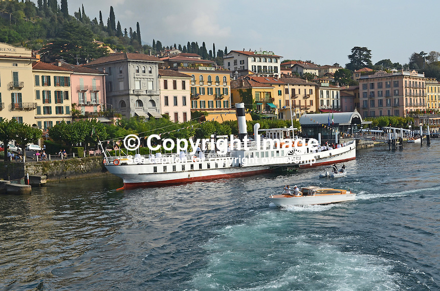 Lake Como paddle steamer, Patria, tied up alongside Bellagio, Italy, 4th October 2014, 201410043701<br /> <br /> Copyright Image from Victor Patterson, 54 Dorchester Park, Belfast, UK, BT9 6RJ<br /> <br /> t: +44 28 9066 1296<br /> m: +44 7802 353836<br /> vm +44 20 8816 7153<br /> <br /> e1: victorpatterson@me.com<br /> e2: victorpatterson@gmail.com<br /> <br /> www.victorpatterson.com<br /> <br /> IMPORTANT: Please see my Terms and Conditions of Use at www.victorpatterson.com