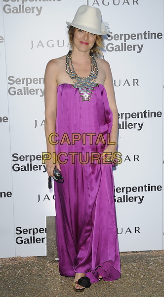 ALICE TEMPERLEY .At the Serpentine Gallery Summer Party, Serpentine Gallery, Hyde Park, London, England, UK, July 8th 2010..full length strapless pink purple magenta long maxi silk dress trilby hat fedora white necklace metal black rose flower shoes sandals open toe silver .CAP/CAN.©Can Nguyen/Capital Pictures.