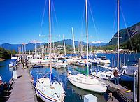 Squamish, BC, British Columbia, Canada - Sailboats and Pleasure Boats docked in Marina at Head of Howe Sound