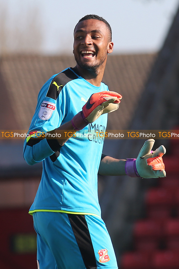Swindon Town goalkeeper, Lawrence Vigouroux during Swindon Town vs MK Dons, Sky Bet EFL League 1 Football at the County Ground on 8th April 2017