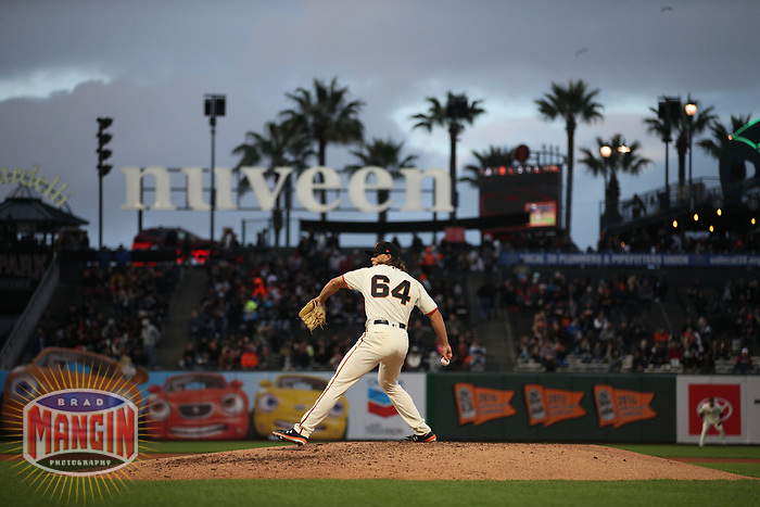 SAN FRANCISCO, CA - MAY 21:  Shaun Anderson #64 of the San Francisco Giants pitches against the Atlanta Braves during the game at Oracle Park on Tuesday, May 21, 2019 in San Francisco, California. (Photo by Brad Mangin)