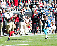 The Carolina Panthers played the San Francisco 49ers at Bank of America Stadium in Charlotte, NC in the NFC divisional playoffs on January 12, 2014.  The 49ers won 23-10.  San Francisco 49ers wide receiver Anquan Boldin (81), Carolina Panthers cornerback Captain Munnerlyn (41)