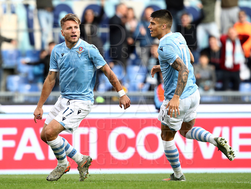 Football, Serie A: S.S. Lazio - Udinese Olympic stadium, Rome, December 1, 2019. <br /> Lazio's Ciro Immobile (l) celebrates after scorig with his teammate Carlos Joaquin Correa (r) during the Italian Serie A football match between S.S. Lazio and Udinese at Rome's Olympic stadium, Rome on December 1, 2019.<br /> UPDATE IMAGES PRESS/Isabella Bonotto