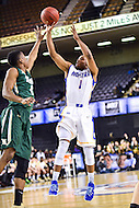 Baltimore, MD - Hofstra Pride guard Juan'ya Green (1) hits a late three pointer against William & Mary Tribe guard Daniel Dixon (0) during the CAA Basketball Tournament at the Royal Farms Arena in Baltimore, Maryland on March 6, 2016.  (Photo by Philip Peters/Media Images International)