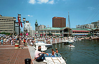 Baltimore:  #5.  Inner Harbor--Harborplace--a 2 story shopping pavilion in background.  Photo '85.