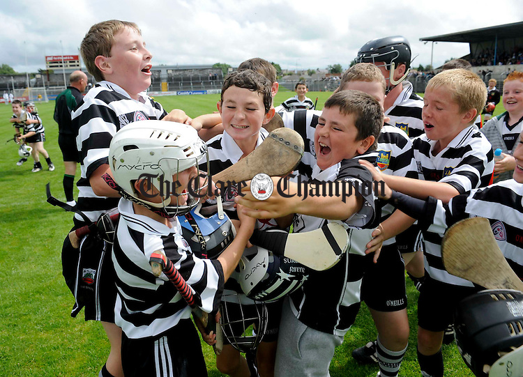 Clarecastle players celebrate after the final whistle during their U-12B final win over Feakle/Killanena at Cusack Park. Photograph by John Kelly.