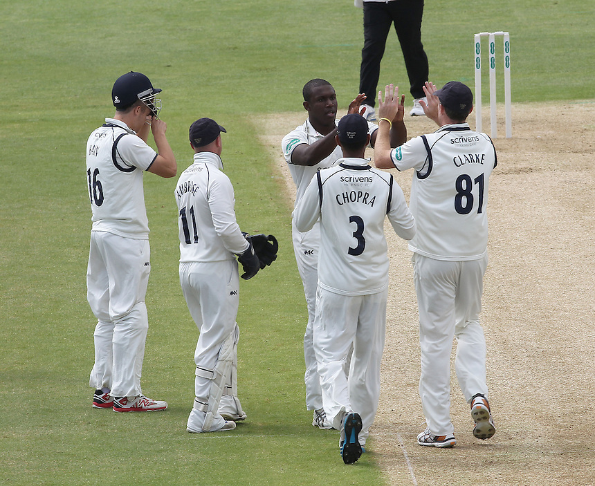 Warwickshire's Keith Barker celebrates taking the wicket of Hampshire's Will Smith with his team mates<br /><br />Photographer Mick Walker/CameraSport<br /><br />County Cricket - County Championship Division One - Warwickshire v Hampshire - Sunday 10th July 2016 - Edgbaston - Birmingham<br /><br />&copy; CameraSport - 43 Linden Ave. Countesthorpe. Leicester. England. LE8 5PG - Tel: +44 (0) 116 277 4147 - admin@camerasport.com - www.camerasport.com