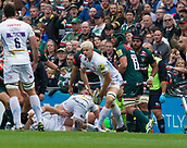 30th September 2017, Welford Road, Leicester, England; Aviva Premiership rugby, Leicester Tigers versus Exeter Chiefs;  Jonny Hill passes from the base of a maul for Exeter