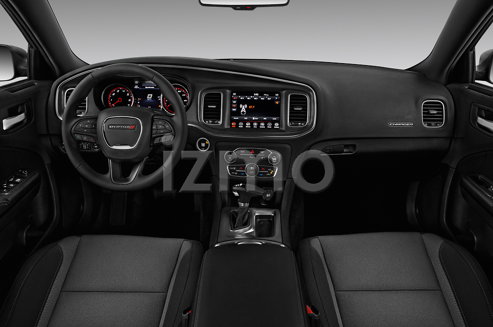 Stock photo of straight dashboard view of a 2018 Dodge Charger R/T 4 Door Sedan