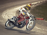 Short track motorcycle action form Municipal Stadium, March 1994. (Photo by Brian Cleary/www.bcpix.com)
