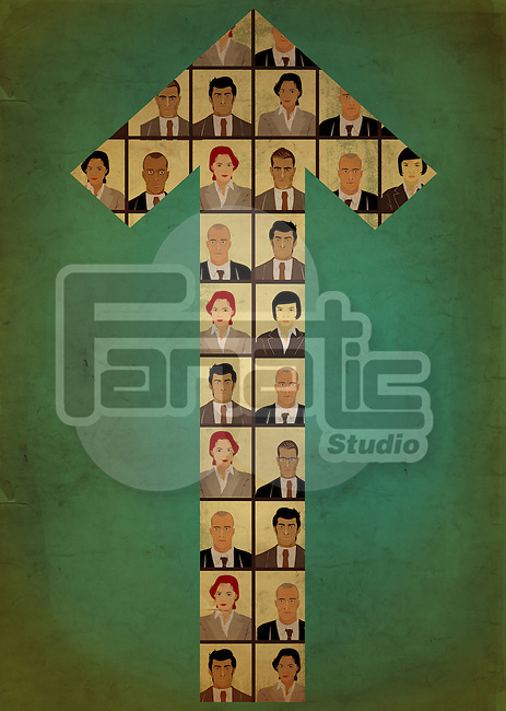Illustrative image of arrow made up by business people's faces representing teamwork