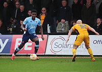 Blackpool's Bright Osayi-Samuel under pressure from Newport County's David Pipe<br /> <br /> Photographer Kevin Barnes/CameraSport<br /> <br /> The EFL Sky Bet League Two - Saturday 18th March 2017 - Newport County v Blackpool - Rodney Parade - Newport<br /> <br /> World Copyright &copy; 2017 CameraSport. All rights reserved. 43 Linden Ave. Countesthorpe. Leicester. England. LE8 5PG - Tel: +44 (0) 116 277 4147 - admin@camerasport.com - www.camerasport.com