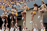 WVU cheerleaders. The WVU Mountaineers defeated the East Carolina Pirates 35-20 at Mountaineer Field at Milan Puskar Stadium, Morgantown, West Virginia on September 12, 2009.