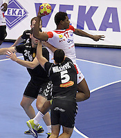 15.01.2013 Granollers, Spain. IHF men's world championship, prelimanary round. Picture show Wael Jallouz    in action during game between Tunisia vs Montenegro at Palau d'esports de Granollers