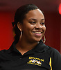 Jahnia Phillips of Sewanhaka smiles after rolling a strike in the Nassau County varsity girls bowling individual championship and state qualifier at AMF Garden City Lanes on Saturday, Feb. 10, 2018.