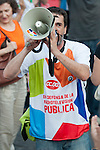Expression of the Spanish trade unions against cuts and closures of public services.A protester shouts slogans with a megaphone in defense of public radio and television..(Alterphotos/Ricky)