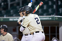 Johnny Aiello (2) of the Wake Forest Demon Deacons waits for his turn to hit during the game against the Charlotte 49ers at BB&T BallPark on March 13, 2018 in Charlotte, North Carolina.  The 49ers defeated the Demon Deacons 13-1.  (Brian Westerholt/Four Seam Images)