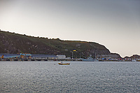 Pictured: Fishguard Port, west Wales, UK. Wednesday 28 August 2019<br />Re: One of the largest hauls of cocaine in UK history has been found on board a boat in Fishguard, Wales, UK.<br />Six people were arrested by officers from the National Crime Agency (NCA) as part of the operation and have recovered 250kg of the drug, with an additional 500kg expected to be found.<br />The street value is believed to be £60m.<br />The boat was targeted as part of an intelligence-led operation as it sailed into Fishguard harbour, Pembrokeshire.<br />The boat, the Sy Atrevido, was intercepted half a mile off the coast by officers from the NCA and the Border Force, which had sailed from South America.