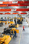 Inside of the SANY factory in Peachtree City, Georgia, June 3, 2013. A staff of fifteen assembles 1,200 pieces to make just one excavator. The company plans for a fifty percent increase in production in the Peachtree City factory going into 2014.