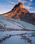 Big Bend National Park, TX <br /> Summit of Cerro Castellan in evening light with lava rock scattered on the volcanic ash hillside