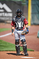 Freddy Fermin (20) of the Idaho Falls Chukars warms up in the bullpen before the game against the Ogden Raptors in Pioneer League action at Lindquist Field on July 2, 2017 in Ogden, Utah. Ogden defeated Idaho Falls 6-5. (Stephen Smith/Four Seam Images)
