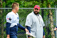 July 27, 2017: New England Patriots defensive coordinator Matt Patricia walks to the field with kicker Stephen Gostkowski (3) at the New England Patriots training camp held on the at Gillette Stadium, in Foxborough, Massachusetts. Eric Canha/CSM