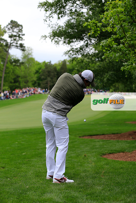 Rory McIlroy (NIR) plays his 2nd shot from the rough on the 11th hole during Saturday's Round 3 of the 2013 Wells Fargo Championship at Quail Hollow Club, Charlotte, North Carolina, 4th May 2013..Picture: Eoin Clarke www.golffile.ie.