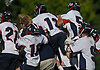 Cold Spring Harbor teammates celebrate after their 9-6 win over Pleasantville in the NYSPHSAA varsity boys lacrosse Class C state semifinals at Adelphi University in Garden City, NY on Wednesday, June 7, 2017.