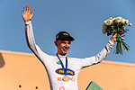 Andreas lorentz Kron (DEN) Riwal Readynez Cycling Team wins the White Jersey young ridersl classification at the end of Stage 5 of the Saudi Tour 2020 running 144km from Princess Nourah University to Al Masmak, Saudi Arabia. 8th February 2020. <br /> Picture: ASO/Kåre Dehlie Thorstad   Cyclefile<br /> All photos usage must carry mandatory copyright credit (© Cyclefile   ASO/Kåre Dehlie Thorstad)