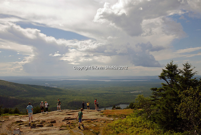 Park visitors at the Blue Hill Overlook on Cadillac Mountain, Acadia National Park, Maine, USA
