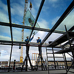 AMERSFOORT - Opbouw ArcheoGebouw, opbouw serre BMW-gebouw, steigerafbouw Woontoren. COPYRIGHT TON BORSBOOM