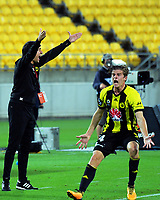 Wellington coach Darije Kalezic and Wellington's Alex Rufer react to a referee's call during the A-League football match between Wellington Phoenix and Adelaide United at Westpac Stadium in Wellington, New Zealand on Saturday, 27 January 2018. Photo: Dave Lintott / lintottphoto.co.nz