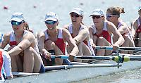 Brandenburg. GERMANY.<br /> RUS W8+. right to left.  Alevtina SAVKINA,  Anastasia KARABELSHCHIKOVA, Aleksandra FEDOROVA, Elena LEBEDEVA, Elena ORIABINSKAIA and cox Ksenia VOLKOVA, 2016 European Rowing Championships at the Regattastrecke Beetzsee<br /> <br /> Friday  06/05/2016<br /> <br /> [Mandatory Credit; Peter SPURRIER/Intersport-images]