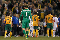 MELBOURNE, 11 JUNE 2013 - Mark SCHWARZER of Australia leaves the pitch at half time in a Round 4 FIFA 2014 World Cup qualifier match between Australia and Jordan at Etihad Stadium, Melbourne, Australia. Photo Sydney Low for Zumapress Inc. Please visit zumapress.com for editorial licensing. *This image is NOT FOR SALE via this web site.
