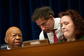 United States Representative Elijah Cummings (Democrat of Maryland) speaks to United States Representative Jamie Raskin (Democrat of Maryland) during the Committee on Oversight and Reform hearing on Capitol Hill in Washington D.C., U.S. to markup a resolution recommending that the House of Representatives find the Attorney General and the Secretary of Commerce in contempt of Congress on June 12, 2019.<br /> <br /> Credit: Stefani Reynolds / CNP