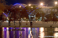 GLENN OGILVIE  Photography<br /> Blue Water Bridge and pond at night.
